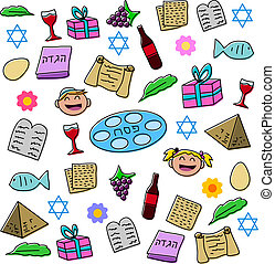 Passover Holiday Symbols Pack - Vector illustration pack of...
