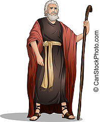 Moses From Bible For Passover - Vector illustration of Moses...
