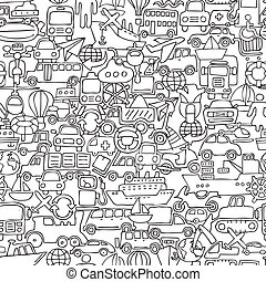 Transportation seamless pattern in black and white repeated...