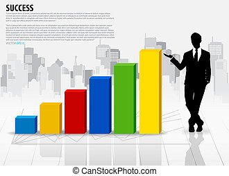 Businessman showing graph over building background. Vector illustration.