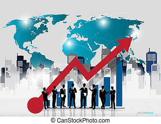 Business people silhouettes with graph and building background. Vector illustration.