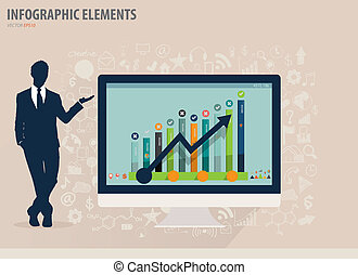 Infographic design template - Businessman showing modern computer with business icons and signs, vector illustration