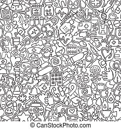 Medicine seamless pattern in black and white (repeated) with...