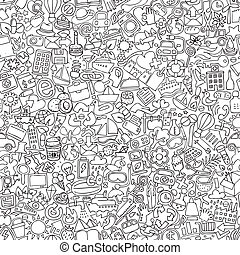 Symbols seamless pattern in black and white repeated with...