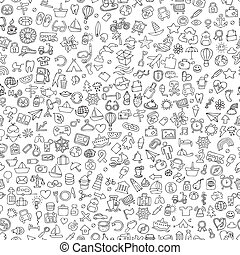 Symbols seamless pattern in black and white (repeated) with...
