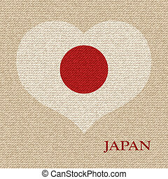 Japanese flag - Japanese flag vector retro illustration