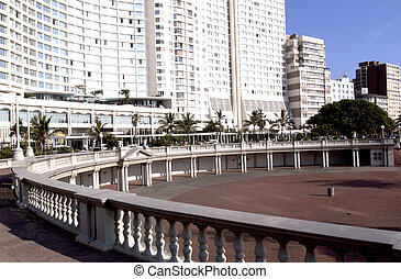 hotel overlooking amphitheatre on Durban's beachfront golden...