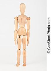 Plain wood mannequin stand upright isolated on white...
