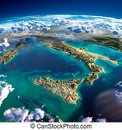 Fragments of the planet Earth. Italy and the Mediterranean...