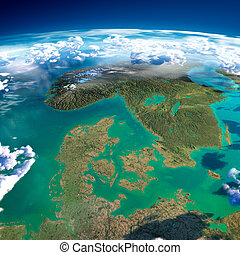 Fragments of the planet Earth. Denmark, Sweden and Norway -...