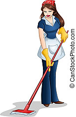 Woman Cleaning With Mop For Passover - Vector illustration...