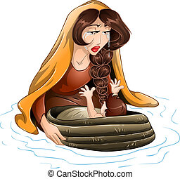 Moses Placed In Water By His Mother - Vector illustration of...