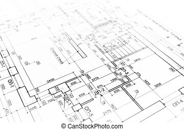 Architectural background - House building construction plan...