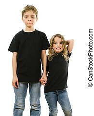 Young children wearing blank black shirts