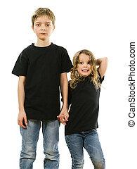il portare, giovane, nero, camicie, vuoto, bambini