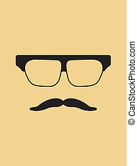 Hipster template Nerd glasses and mustaches