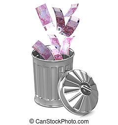 3d Euro trash can - 3d render of Euro notes falling into a...