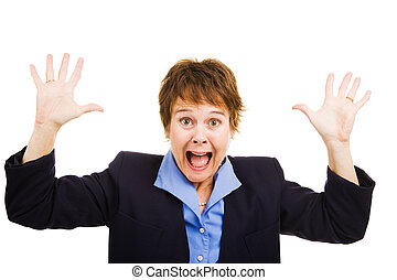 Businesswoman Terrified - Business woman terrified by the...