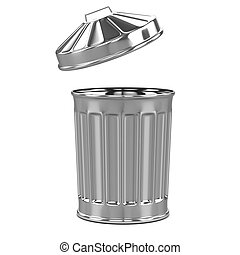 3d Side view trash can - 3d render of a trash can from the...