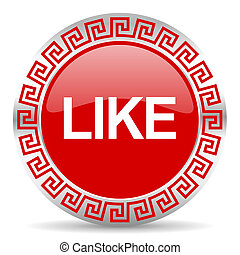 like icon - red web button wtih greek ornament