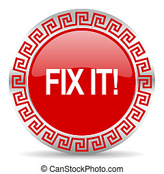 fix it icon - red web button wtih greek ornament
