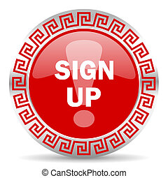sign up icon - red web button wtih greek ornament