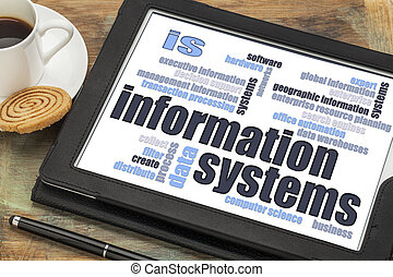 information systems word cloud on a digital tablet with a...