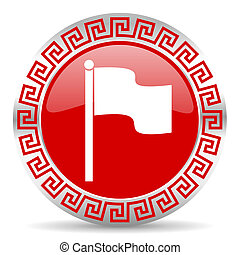 flag icon - red web button wtih greek ornament