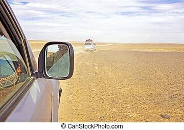 Driving through the Sahara Desert in Morocco