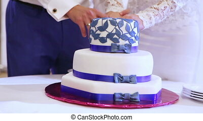 Cutting beautiful cake - Wedding cake with blue stripes