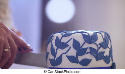 Cuting beautiful cake - Wedding cake with blue stripes