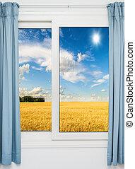 naturaleza, paisaje, vista, por, ventana, cortinas