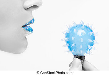 blue innovation - girl with the blue lipstick holding bulb...