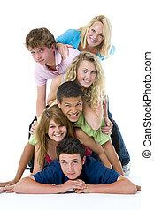 Adolescentes, en, cima, de, Uno, otro