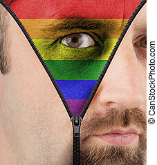 Unzipping face to rainbow flag - close-up of a face...