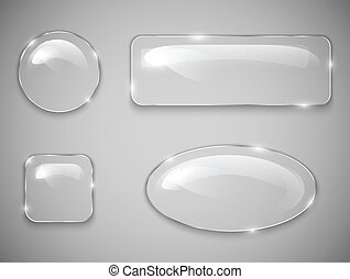 Glass buttons - Transparent glass buttons Vector...
