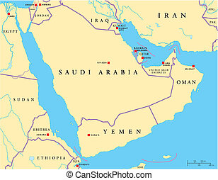 Arabian Peninsula Political Map - Political map of Arabian...
