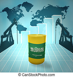 Oil barrel with Saudi Arabia flag on the background of the...