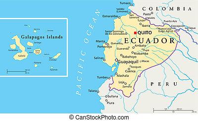 Ecuador and Galapagos Islands Polit - Political map of...