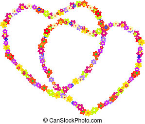 Vector couple of hippy hearts made of flowers for a...