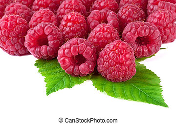 raspberry with leaves on white background