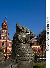 independencia, monumento, alto, tribunal, edificio, Yangon
