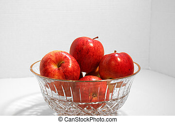 Apples in Crystal Bowl - A group of apples in a crystal bowl...