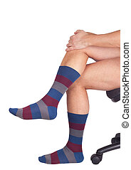 Striped socks isolated on white background Clipping paths...