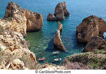 Cliff at Algarve Coast, Portugal - Ponta de Piedade in...
