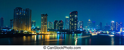 Bangkok City at night time, area in the capital of Thailand