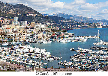 View of Monte Carlo and harbour in Monaco