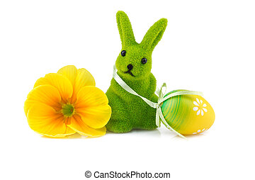 easter bunny with easter egg isolated on white
