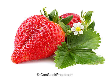 strawberry with leaf isolated on white background
