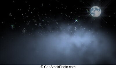 1044 Moon Clouds, Stars - Moon shining across night clouds...